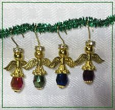 Handcrafted Gold Miniature Christmas Angel Ornament Made With Swarovski