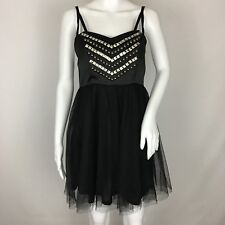 Hot Topic Black Studded Embellished Tulle Dress Goth Punk Rocker Size L Fit M?