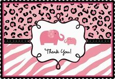 SWEET SAFARI GIRL THANK YOU NOTES (20) ~ Baby Shower Party Supplies Stationery