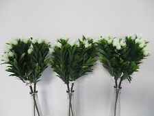 Pack of 6 Artificial Cream / White  Blossom Bushes - 39 cm Foliage with Flowers