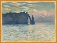 The Cliff, Etretat, Sunset Monet Frankreich Klippen Sonnenuntergang B A1 01245