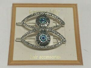 """lonna lilly 2 Blue Eyes Sparkles Crystal Silver Plated Hair Clips 2"""" Macy's LL55"""