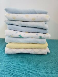 Vintage Baby Boy Theme Receiving Blankets Lot Of 8