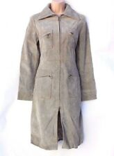 Women's Vintage MNG MANGO Fitted Knee Length Grey Real Leather Coat Jacket S