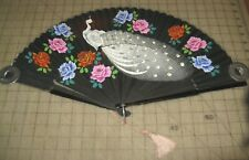 """Vintage Peacock & Flowers 23"""" Spread Cloth/Wood Black Hand Fan some sparkles"""