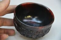 DELICATE CHINESE OX HORN HAND CARVED wine bowl cup