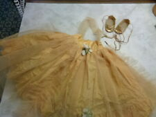VINTAGE 50'S TAGGED TERRI LEE GOLD FORMAL GOWN W/SHOES