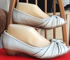 Footglove Size UK 4.5 (37.5) Wider Fit Cream Leather Wedged Heel Peep Toe Shoes