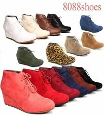 Women's Casual Oxford Ankle Booties Lace up  Low Wedge Shoes Size 5 - 10 NEW