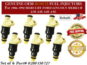 6 Fuel Injectors OEM Bosch for 1987-1989 FORD F-150 4.9L I6 *0280150727