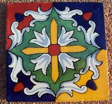 """10~MEXICAN TALAVERA POTTERY 4"""" tile Hand Painted clay red green blue gold white"""
