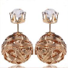 XL Perle Doppel luxus Ohrringe Tribal Perlen Kugel double Ohrstecker Gold Neu