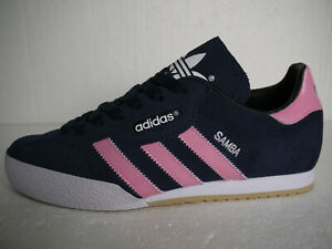 Adidas Originals Samba Super Blue Suede CUSTOM Pink Stripes (UK 10.5) BNIB
