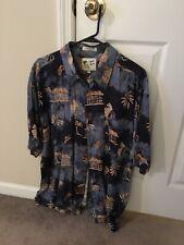 M.E. Sport Hawaiian Palm Tree Men's Short Sleeve Button-Front Shirt Size Xl