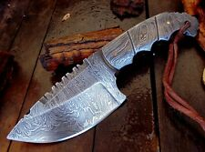 Full Tang Twist Pattern Damascus Steel Saw Back Hunting Skinner Knife Wow! A5