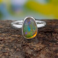 Natural Ethiopian Opal Ring - 925 Sterling Silver Handmade Ring Size 7