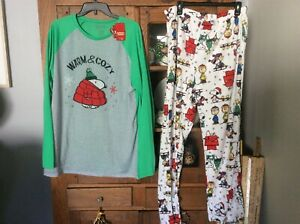 Peanuts Christmas pajamas Snoopy Charlie Brown Woodstock Ugly sweater NWT L