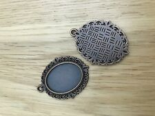 Jewellery Making Antique Copper 39 x 29mm Oval Fancy Cabochon Frame Setting x2