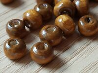 100 ROUND DARK BROWN NATURAL DYED WOODEN BEADS 7MM  Jewellery Making Crafts