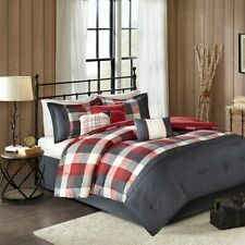 Country Farmhouse Rustic Red Plaid Buffalo Check Cal King Comforter Set- 7 Piece