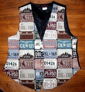 Vintage   US made    woven Tapestry Vest      license plate       Large