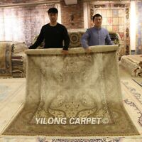 Yilong 6'x9' Traditional Classic Silk Area Rug Hand Knotted Carpet Handmade 0278
