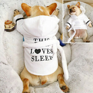 Pet Dog Pajamas Fleece Puppy Cat Pyjamas Sleepwear Clothes Hoodie French Bulldog