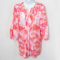 CHICOS Sz 1 Tie Dye Print Tunic Top Orange Pink Popover Womens Medium M 8 1002X