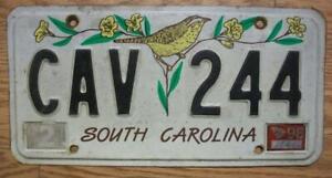 SINGLE SOUTH CAROLINA LICENSE PLATE - 1998 - CAV 244