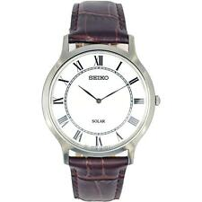 SEIKO MEN'S 38MM BROWN LEATHER BAND STEEL CASE SOLAR WHITE DIAL WATCH SUP869P1