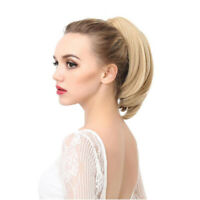 Women's Short Straight Claw Ponytails Synthetic Blonde Gray Little Ponytail