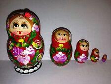 G. Debrekht Russian Nesting Doll Matryoshka 5 Pc Hand Painted Dolls Lady Bug
