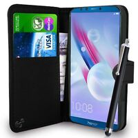 Black Wallet Case PU Leather Book Cover For Huawei Honor 9 Lite Mobile Phone