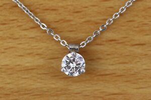 Diamond Solitaire 3 Prong Pendant 1/3ct Round 14kt White Gold