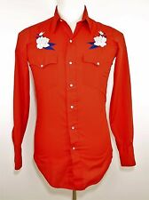 VTG TUP BRAND Red Western Shirt Cowboy Rodeo Fancy Embroidery Pearl Snap MEN'S S