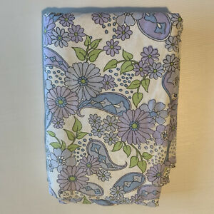 purple blue retro floral Vintage Cotton Sheet 1960s
