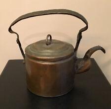 Antique Hand Forged Copper Primitive Rustic Tea Pot Kettle~ Rare