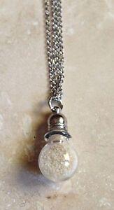 Mini Glass Bottle Potion Vial Birthstone Necklace Pendant w/Colored Sand