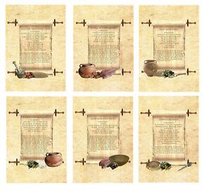 Ancient Roman Recipe scroll Apicius A5 canvas Print choice 6 pigeon goose cakes