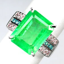 EMERALD GREEN OCTAGON 11.40 CT. SAPPHIRE 925 STERLING SILVER RING SIZE 6.75 GIFT