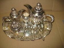 INDONESIAN YOGYA SILVER. . 5 Piece Coffee/Tea Set with Matching Tray