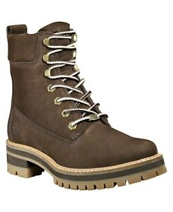 Timberland Women Courmayeur Valley Lug 6 IN Boots Size US 9.5M Dark Brown Nubuck