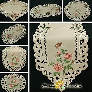 Rosen Tischläufer Tischdecke Leinen-Optik Beige Natur mit rosa Blumen Stickerei