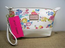 Betsey Johnson White & Pink Floral Loaf Faux Leather Large Cosmetic Bag MSRP $48