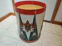 Vintage MCM 21in Trouvailles Metal Military Drum Side Table