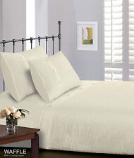 Luxury Button Waffle Square Ribbed Duvet Cover Bedding Set - 4 Sizes 2 Colours Single Cream