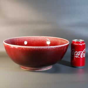 Large Old Chinese Porcelain Bowl Ox Blood Red Glaze