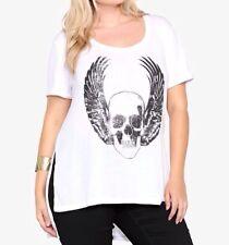 New Torrid Goth Punk White Winged Skull Hi-Lo Short Sleeve Tunic Tee Plus Sz 3x