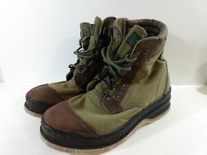 Orvis Felt Bottom Wading Fishing Boots Mens Size 11 2676 Green Canvas