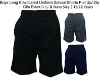 Boys Long Shorts* Half Elasticated Uniform School Trouser Pull Up/Zip Clip 3To11